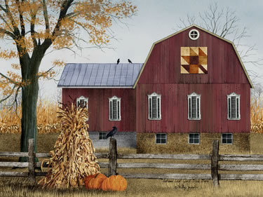 Autumn Leaf Quilt Block Barn