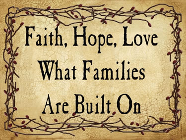 Faith, Hope, Love What Families Are Built On