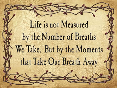 Life is not Measured by the Number of Breaths We Take, But by the Moments that Take Our Breath Away