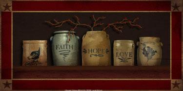 Faith, Hope & Love Crocks