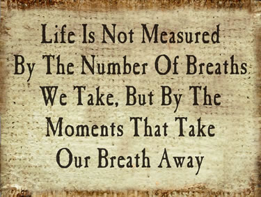 Life Is Not Measured By The Number Of Breaths You Take But By The Moments That Take Your Breath Away