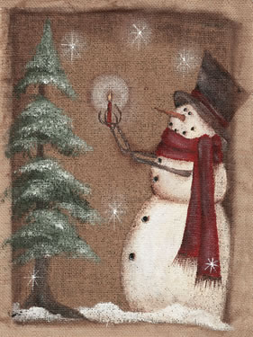 Burlap Snowman Holding Candle to Tree