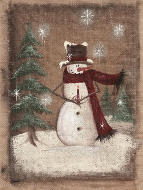 Burlap Snowman Holding Candle