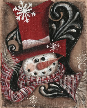 Burlap Snowman Red Top-hat with Flake