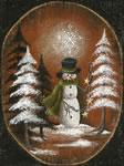 Burlap Snowman Holding Stars