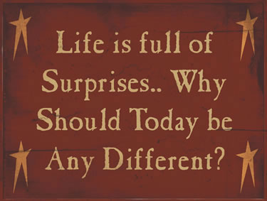 Life Is Full Of Surprises…Why Should Today Be Any Different?