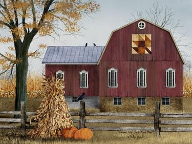 Autumn Leaf Quilt Block Barn