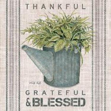 Galvanized Watering Can- Grateful & Blessed