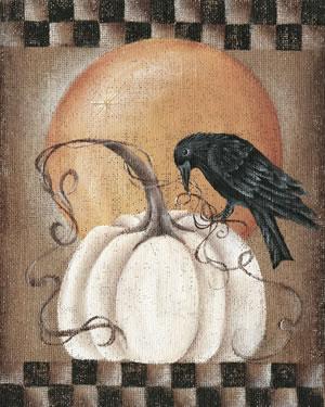 Burlap Crow White Pumpkin Moon
