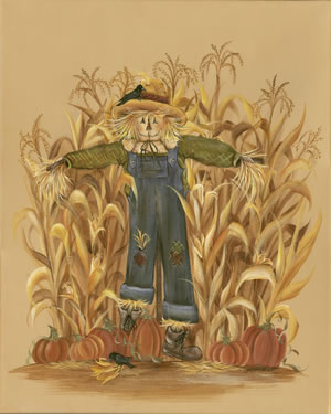 ScareCrow Corn Pumpkin Brave Crow