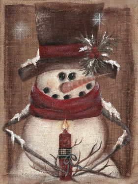 Burlap Snowman Holding Candle Close Up