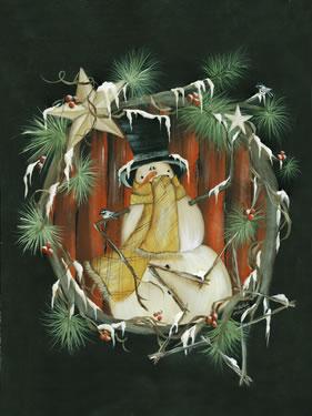 Snowman Wreath Holding Star