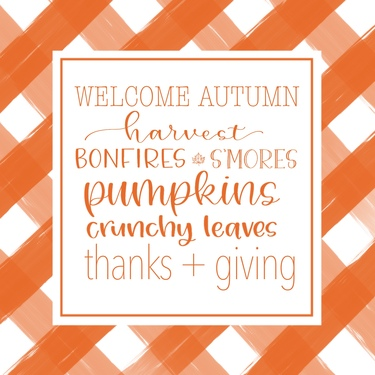 Orange Plaid Welcome Autumn